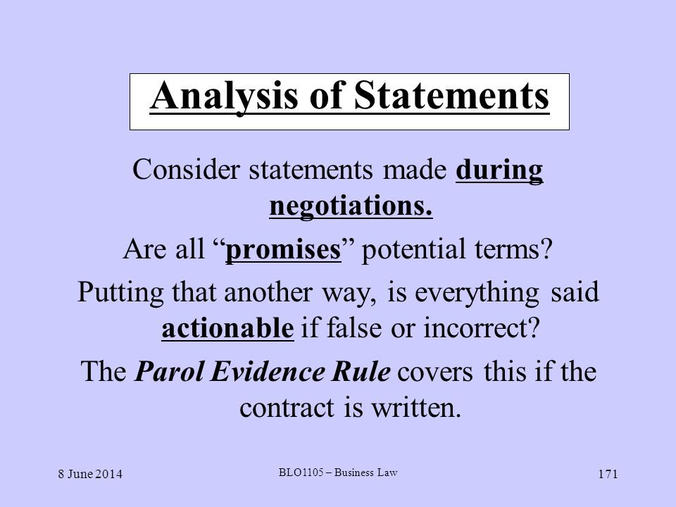 Analysis of Statements
