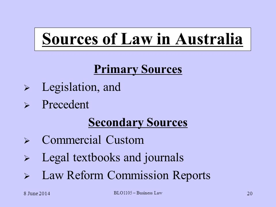 Sources of Law in Australia