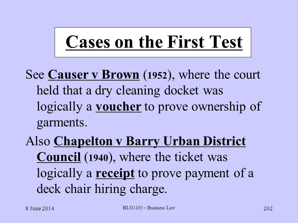 Cases on the First Test
