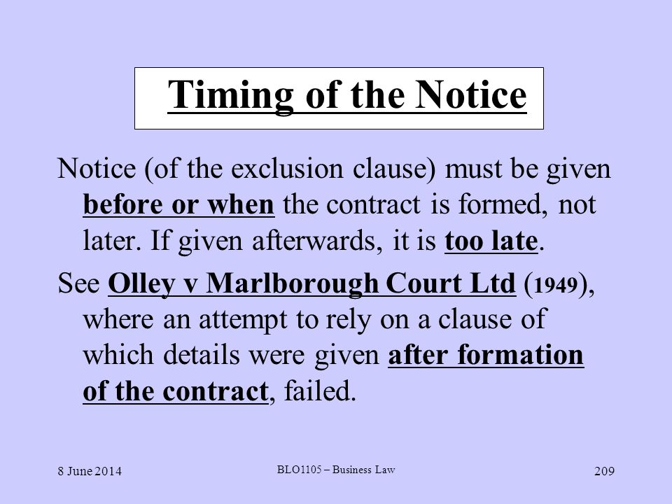 Timing of the Notice