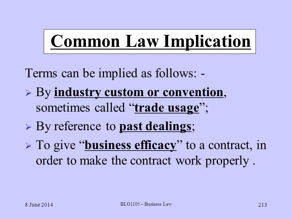 Common Law Implication