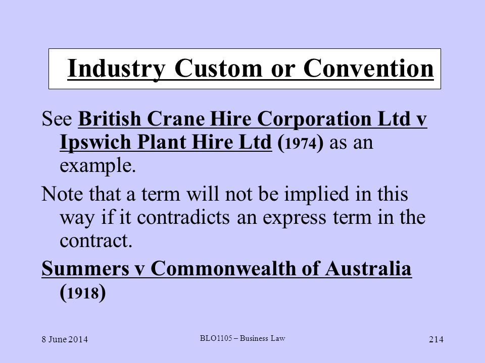 Industry Custom or Convention