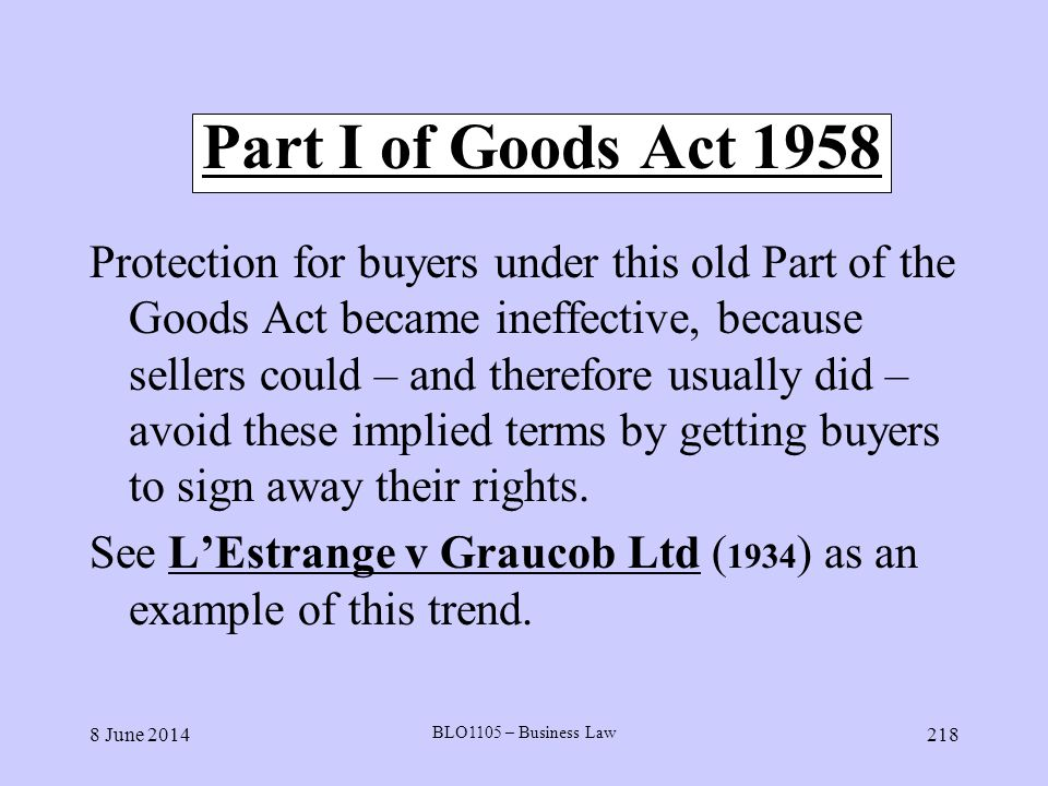Part I of Goods Act 1958