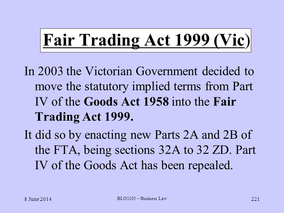 Fair Trading Act 1999 (Vic)