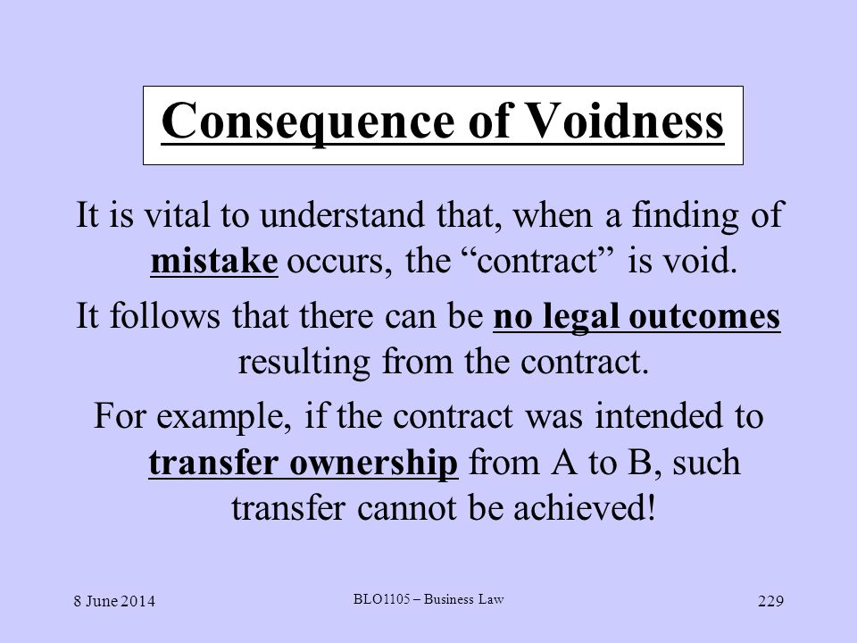 Consequence of Voidness