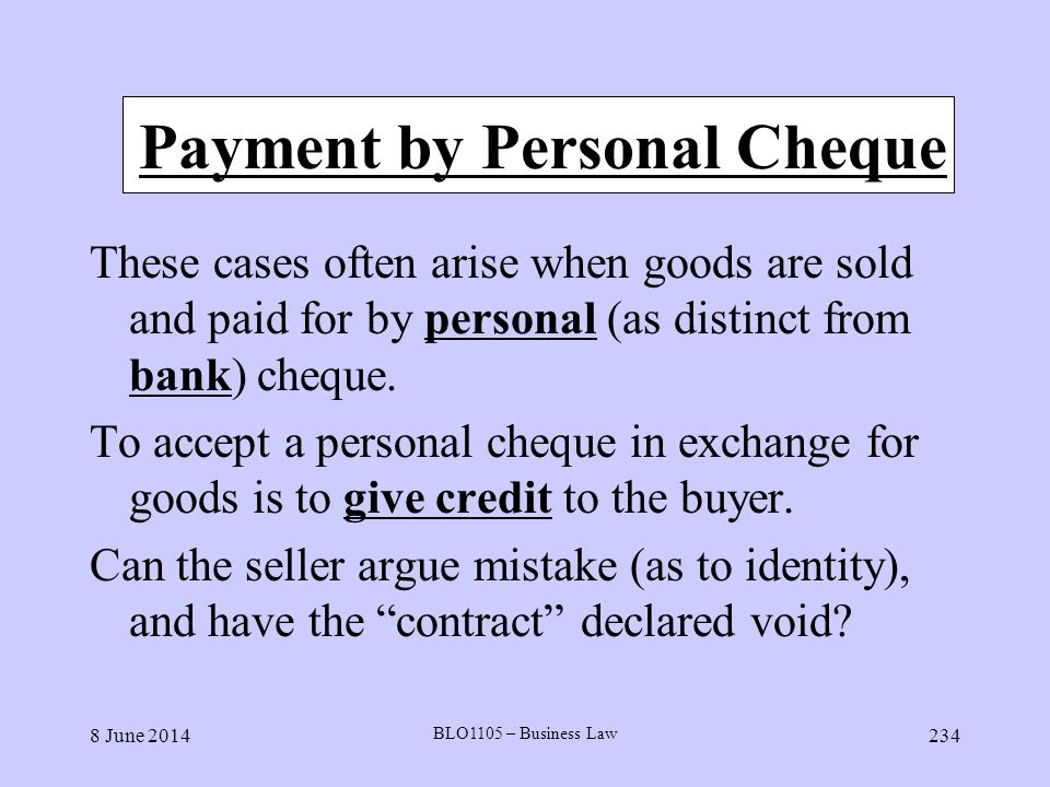 Payment by Personal Cheque