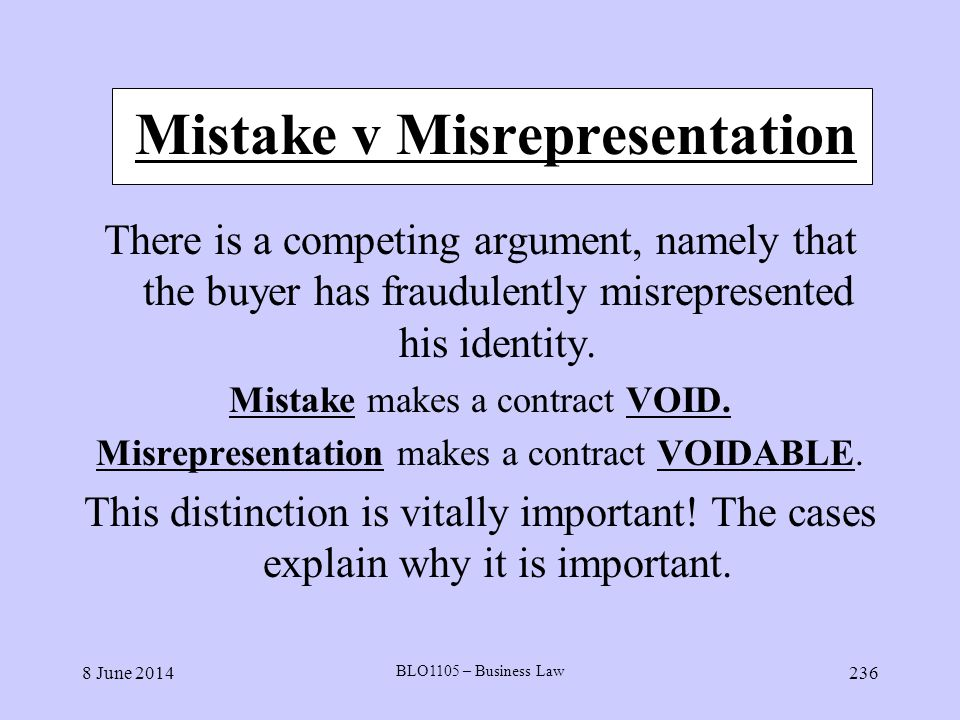 Mistake v Misrepresentation