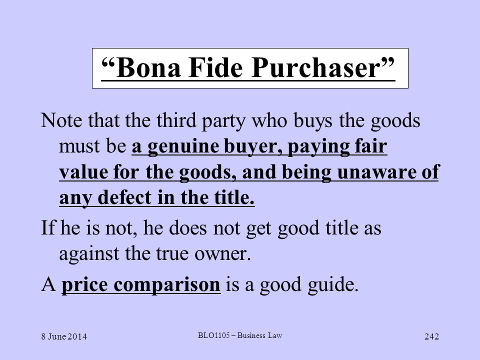 Bona Fide Purchaser