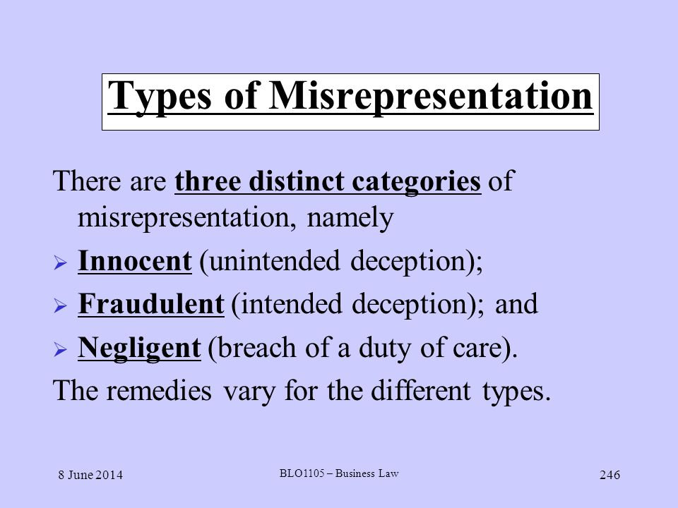 Types of Misrepresentation