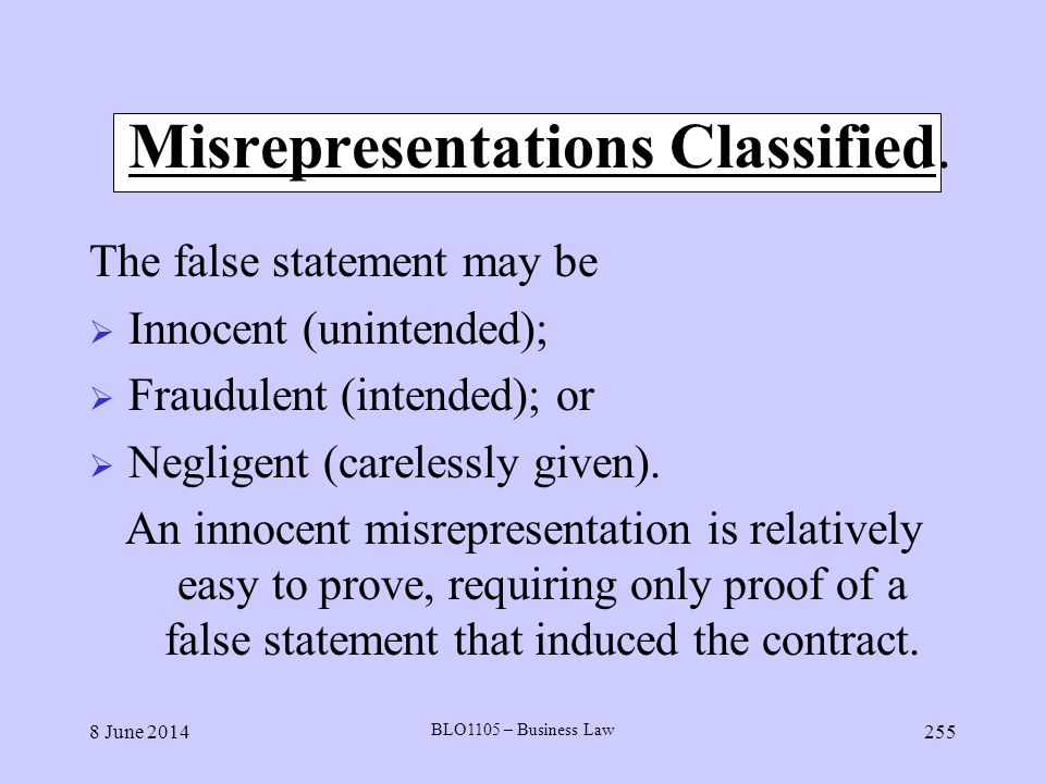 Misrepresentations Classified.