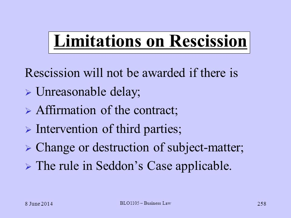 Limitations on Rescission