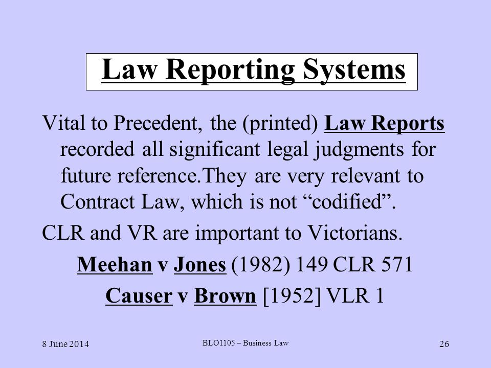 Law Reporting Systems