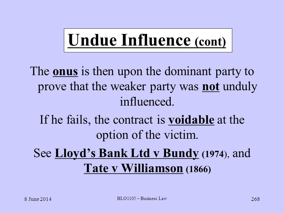 Undue Influence (cont)