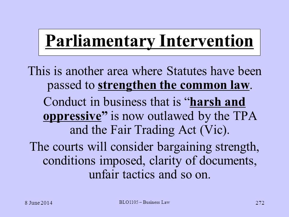 Parliamentary Intervention