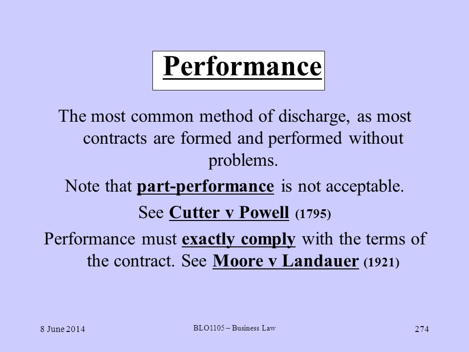 Note that part-performance is not acceptable.