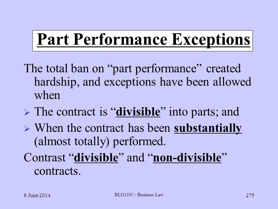 Part Performance Exceptions