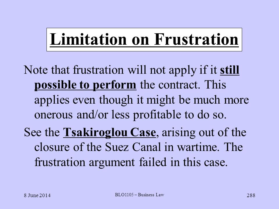 Limitation on Frustration