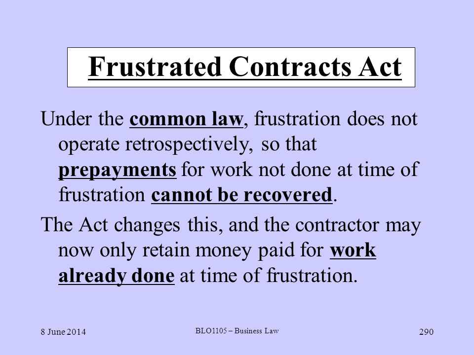 Frustrated Contracts Act