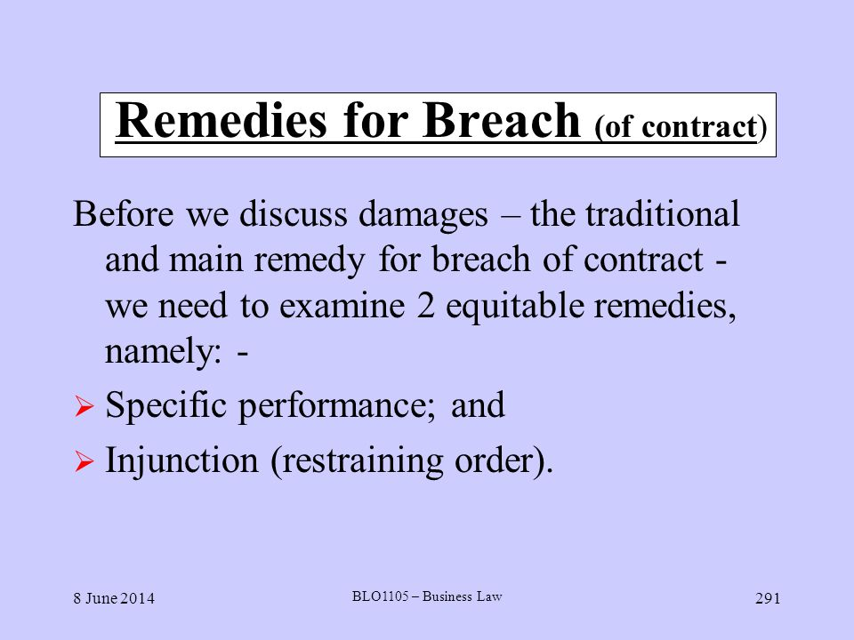 Remedies for Breach (of contract)