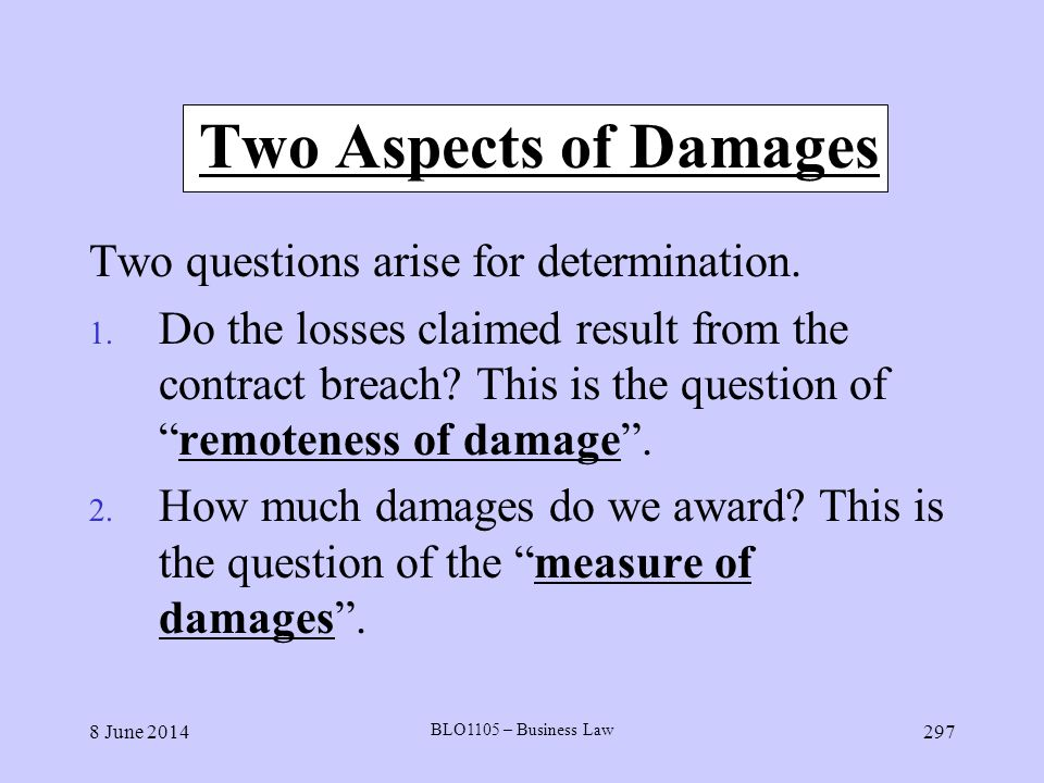 Two Aspects of Damages Two questions arise for determination.