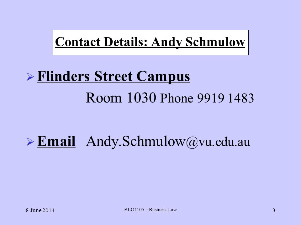 Contact Details: Andy Schmulow