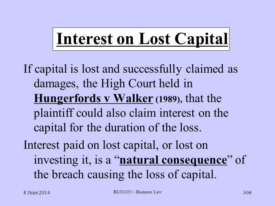 Interest on Lost Capital