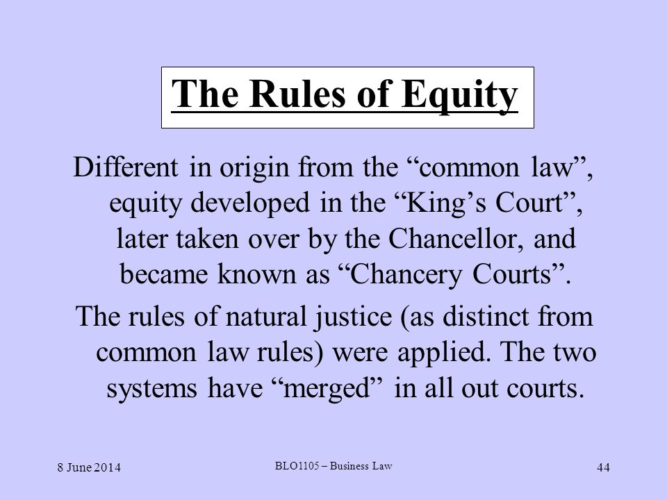 The Rules of Equity