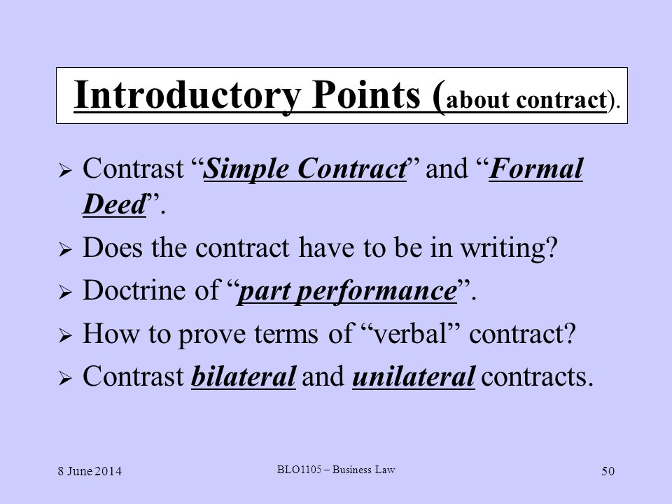 Introductory Points (about contract).