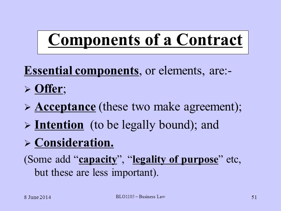 Components of a Contract