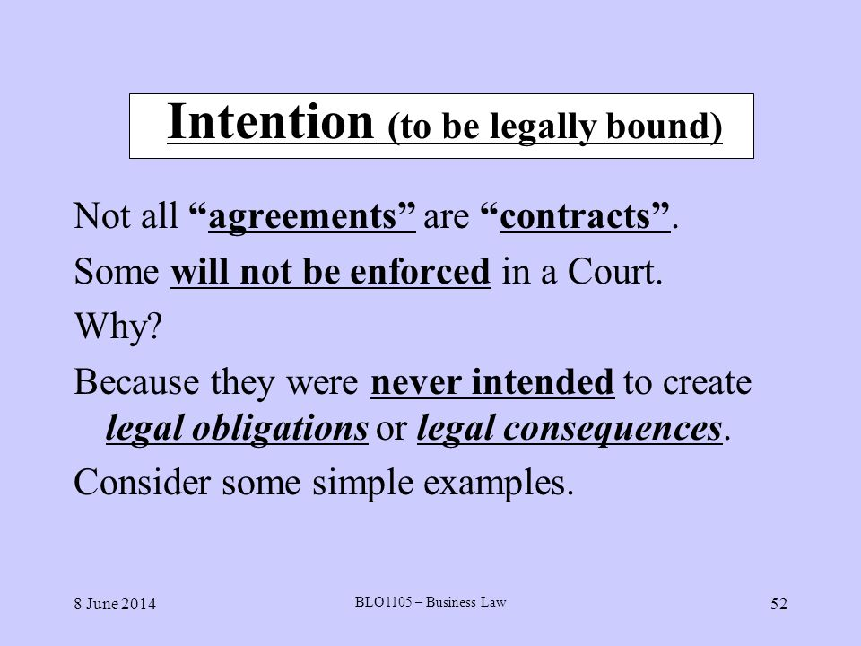 Intention (to be legally bound)