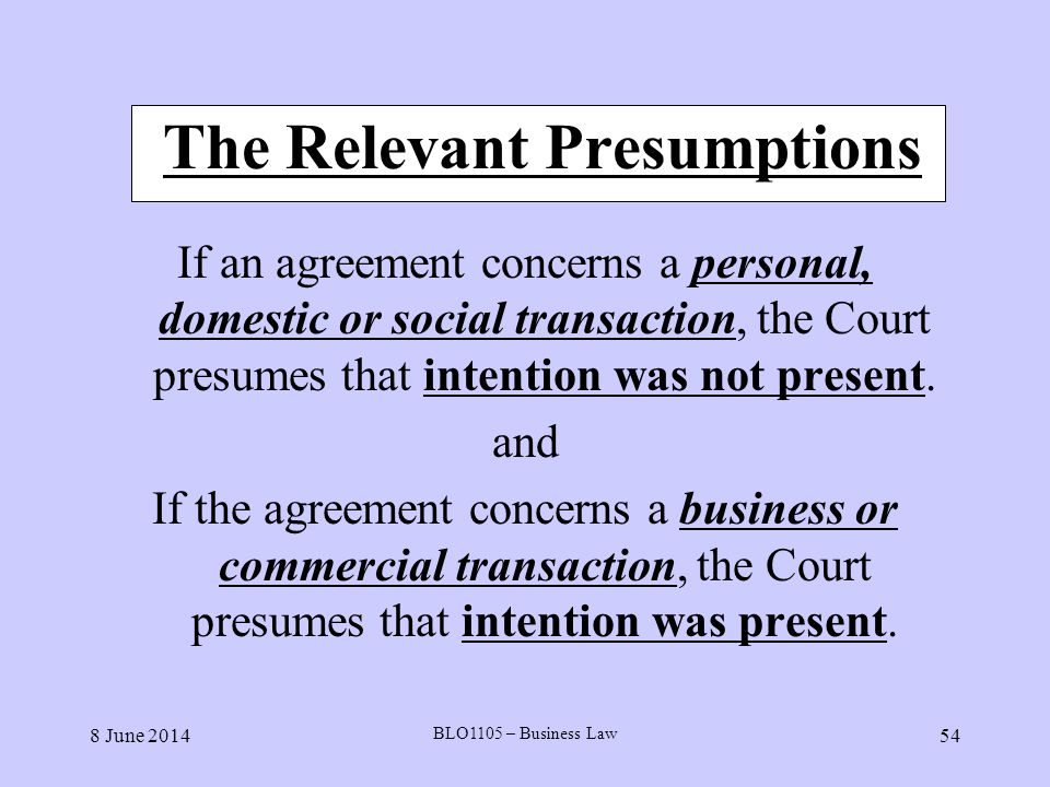 The Relevant Presumptions