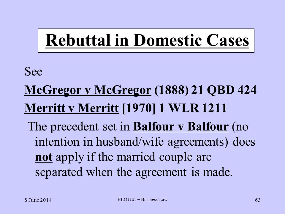 Rebuttal in Domestic Cases