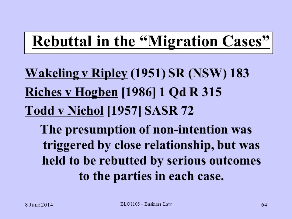 Rebuttal in the Migration Cases