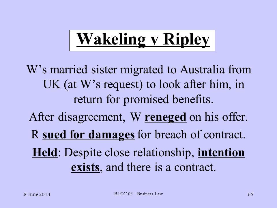wakeling v ripley case summary