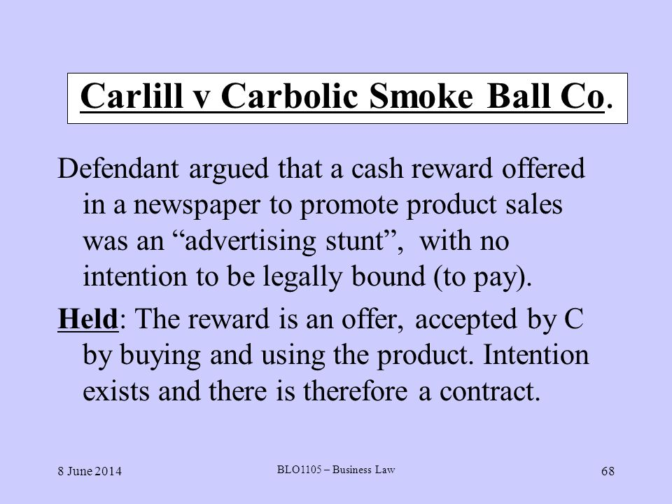 Carlill v Carbolic Smoke Ball Co.