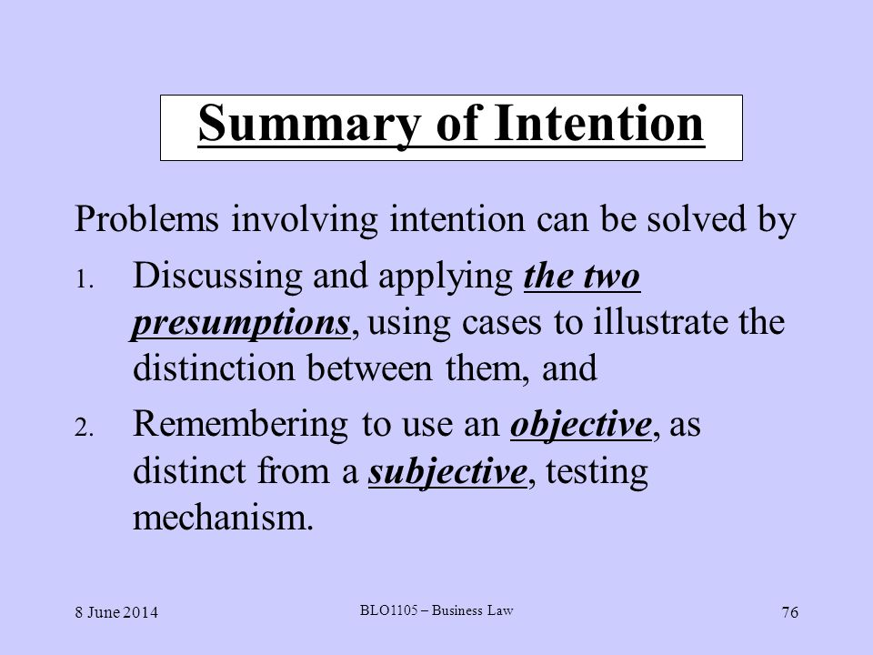 Summary of Intention Problems involving intention can be solved by