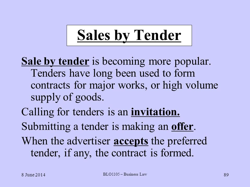 Sales by Tender