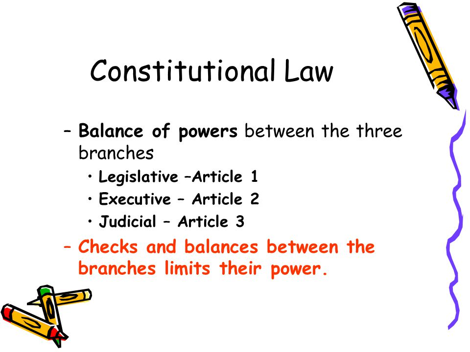 Constitutional Law Balance of powers between the three branches