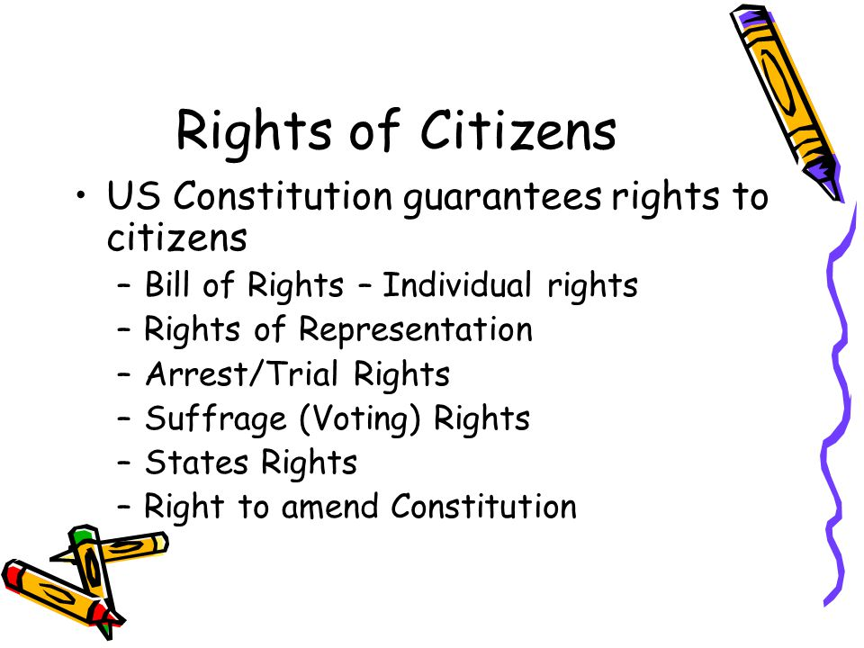 Rights of Citizens US Constitution guarantees rights to citizens