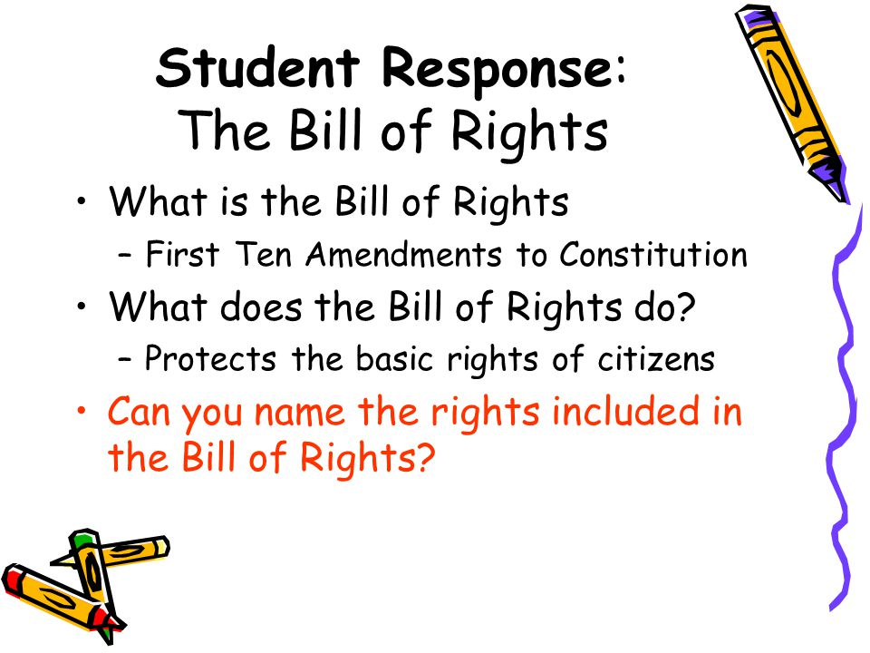 Student Response: The Bill of Rights