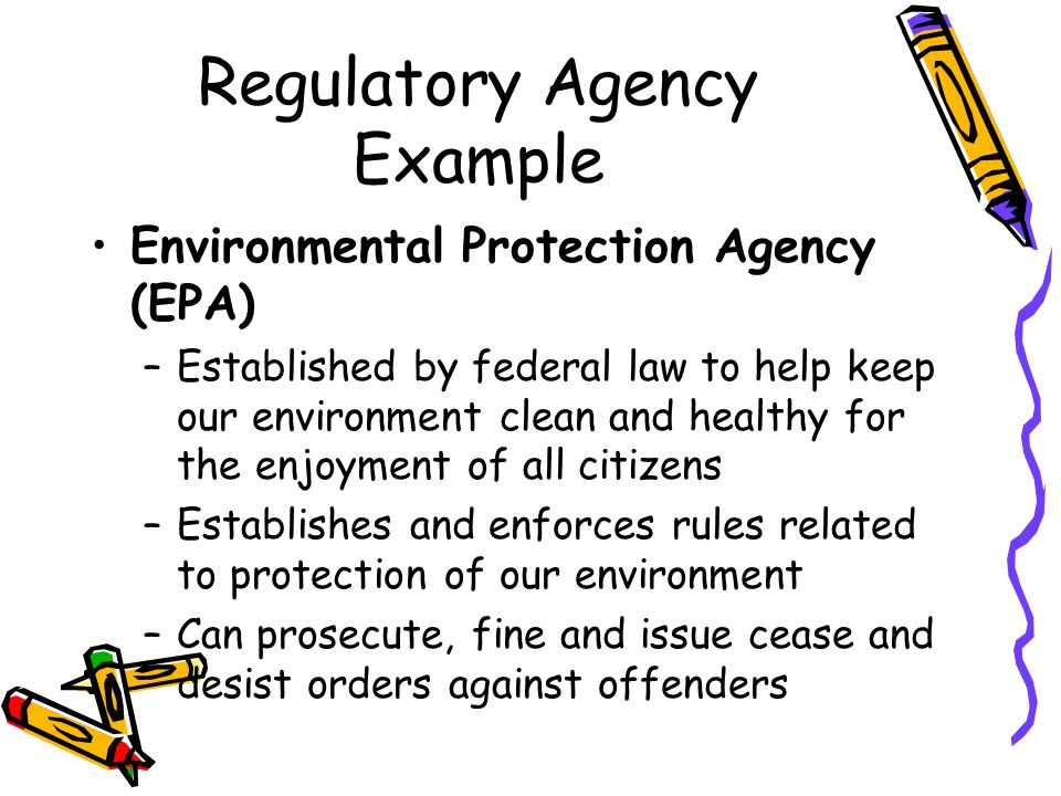 Regulatory Agency Example