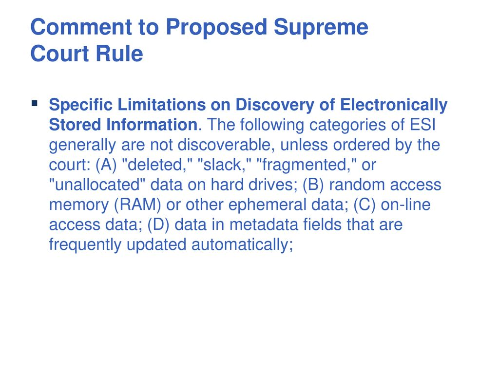 Discovery Of Information About Proposed >> Illinois Proposed E Discovery Rules Ppt Download
