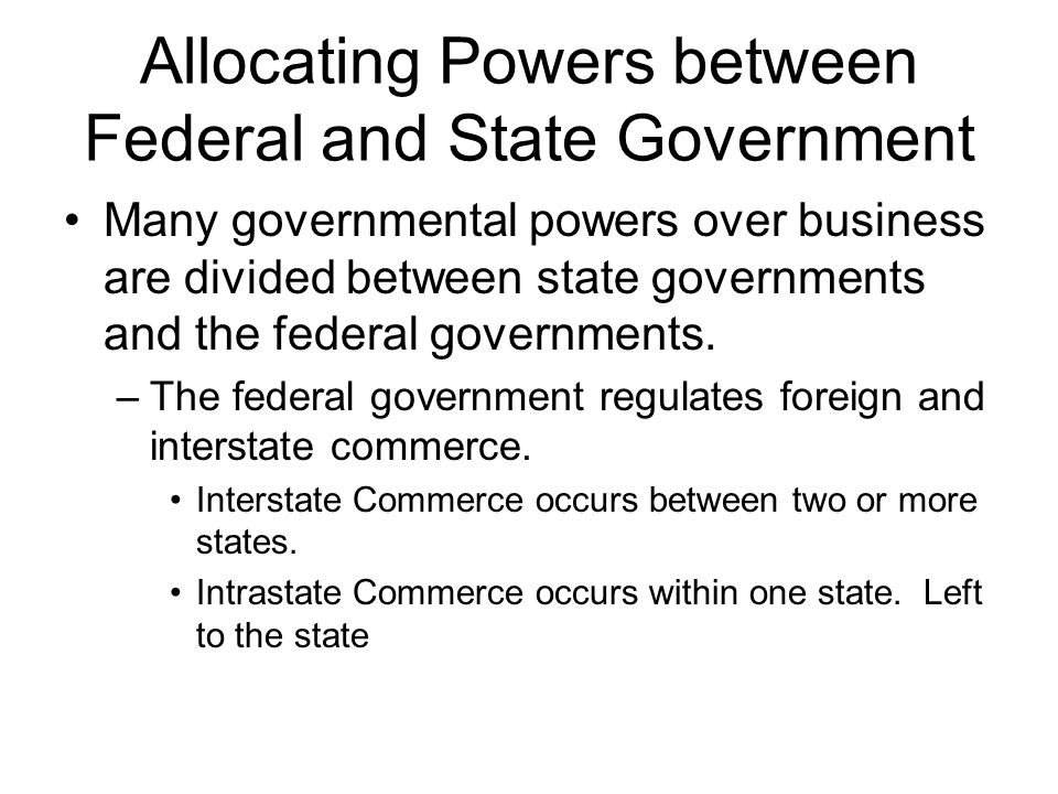 Allocating Powers between Federal and State Government