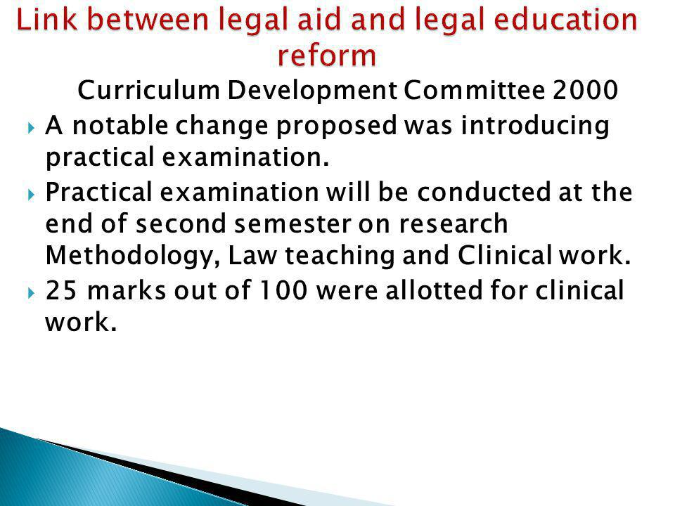 Link between legal aid and legal education reform