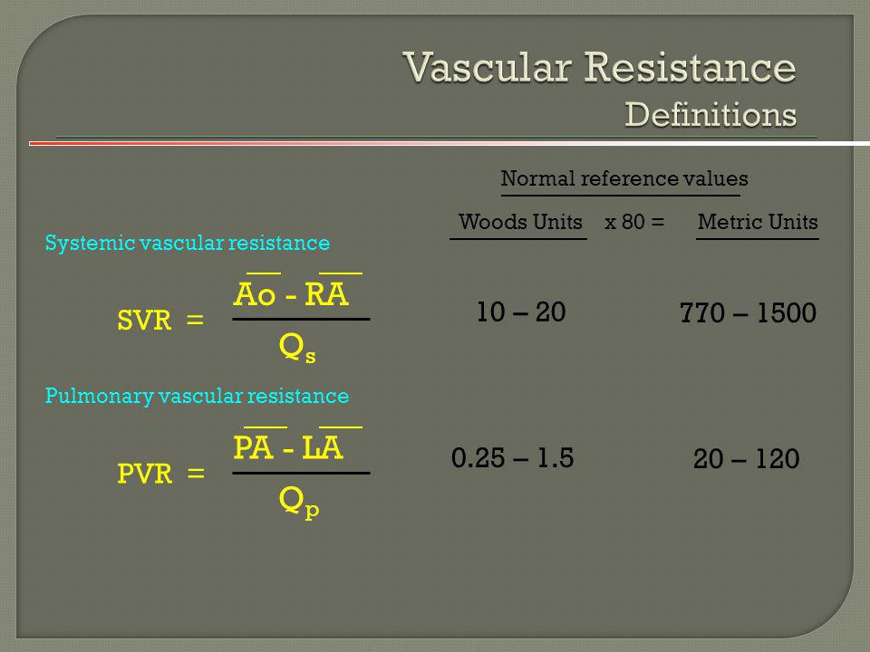 Vascular Resistance Definitions