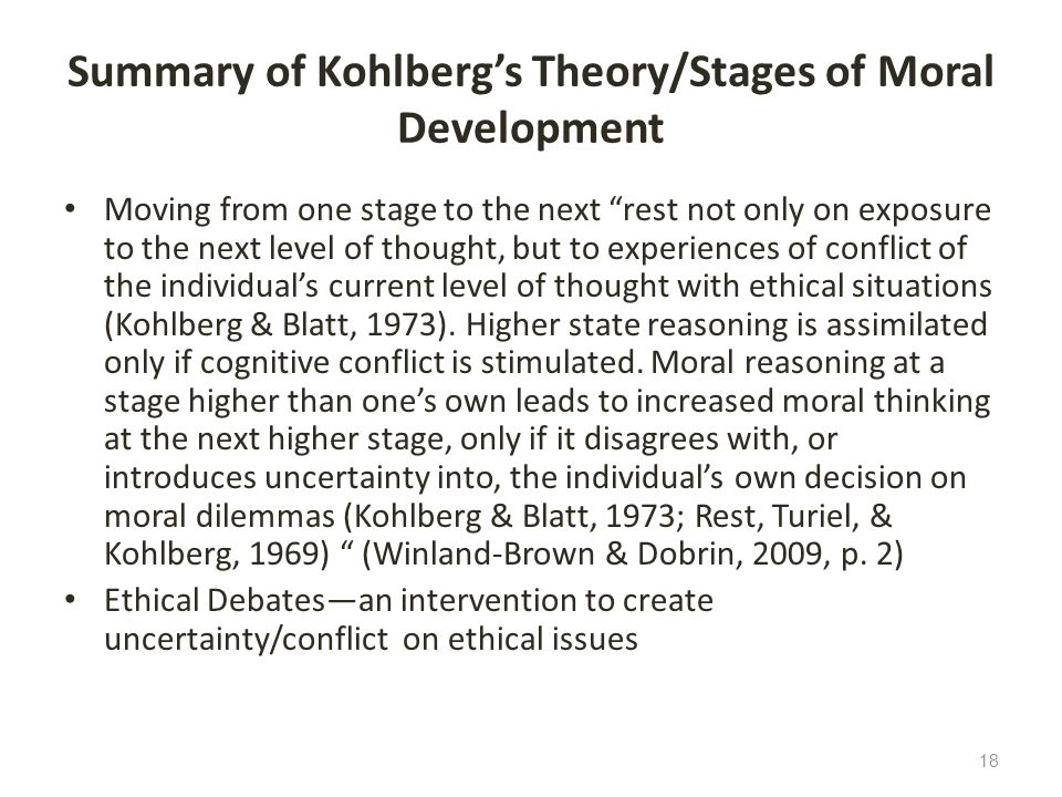 Summary of Kohlberg's Theory/Stages of Moral Development