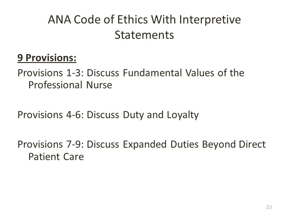 ANA Code of Ethics With Interpretive Statements