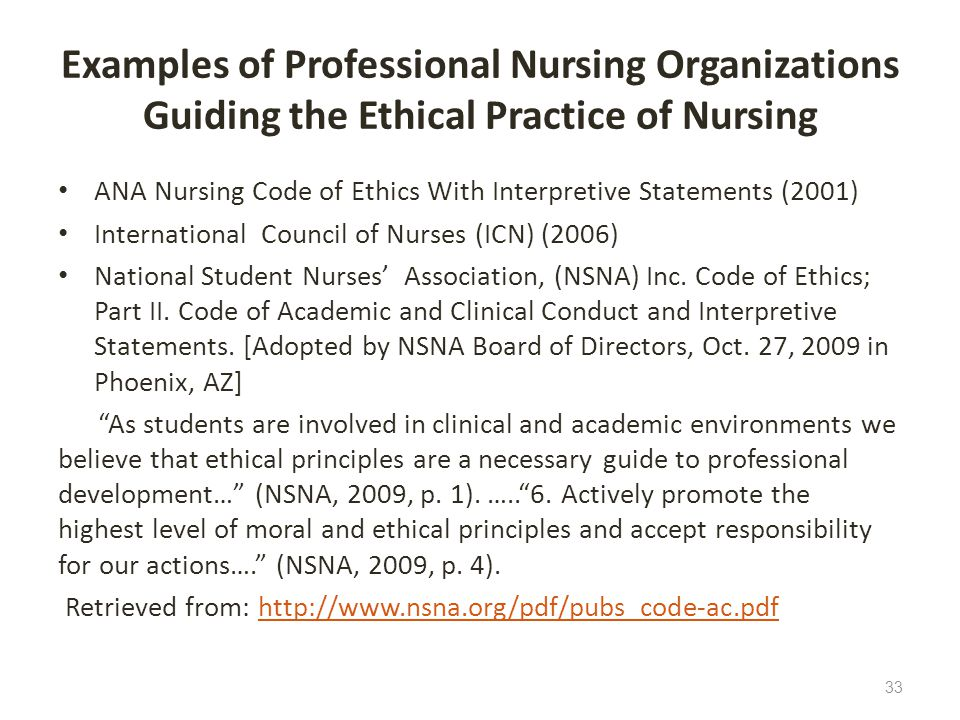Examples of Professional Nursing Organizations Guiding the Ethical Practice of Nursing
