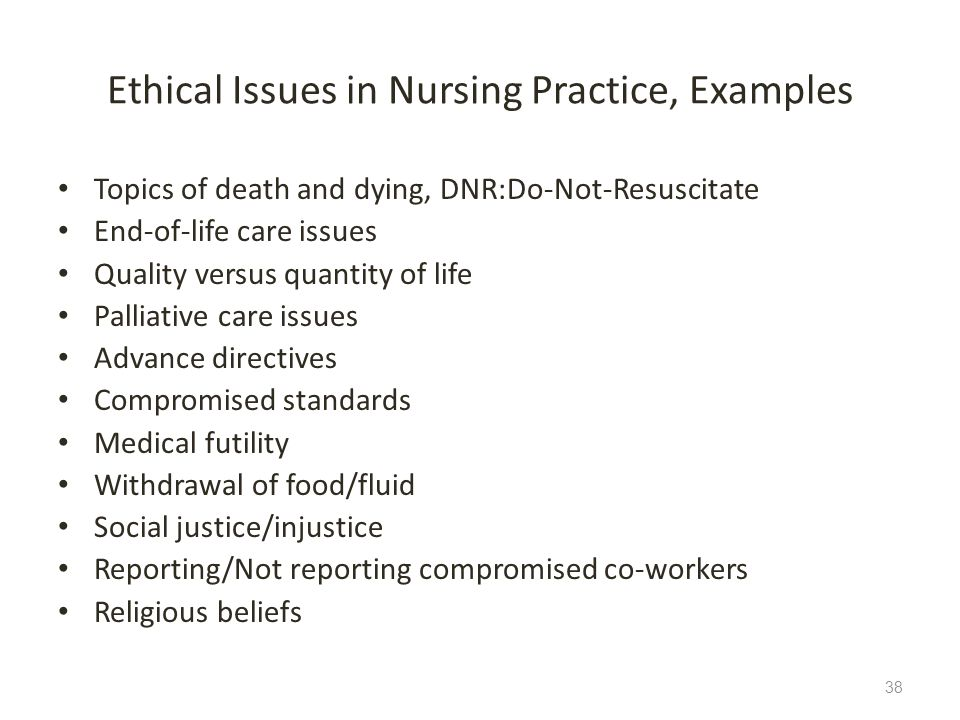 Ethical Issues in Nursing Practice, Examples