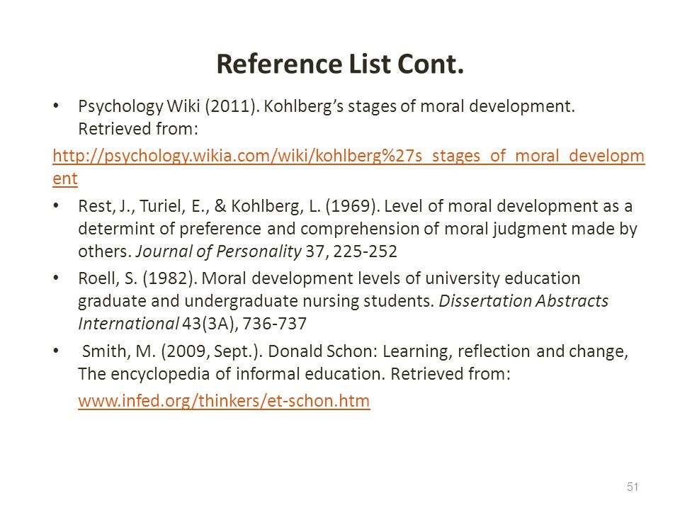 Reference List Cont. Psychology Wiki (2011). Kohlberg's stages of moral development. Retrieved from: